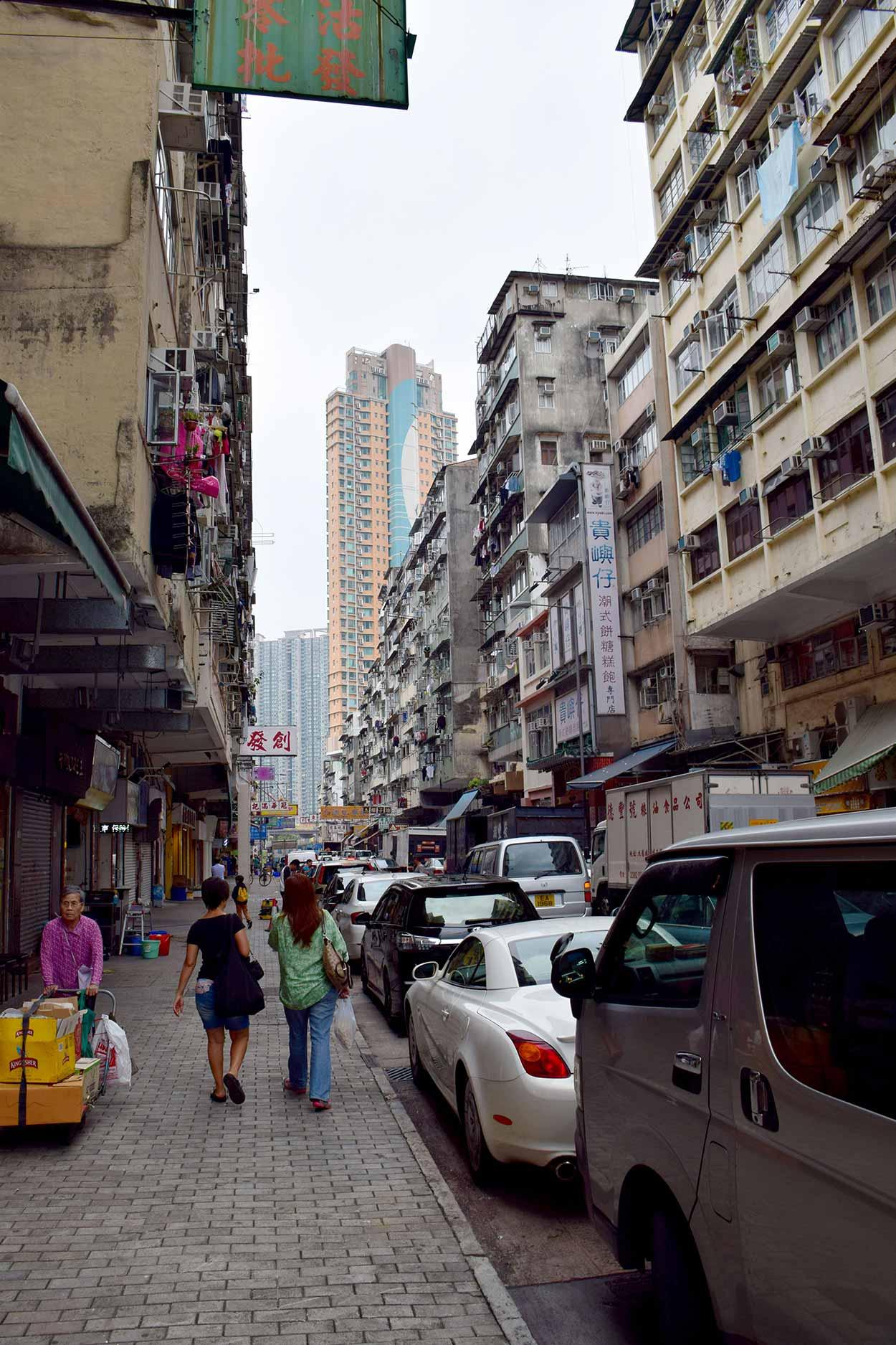 Walking down South Wall St, Kowloon City Food District, Hong Kong, China