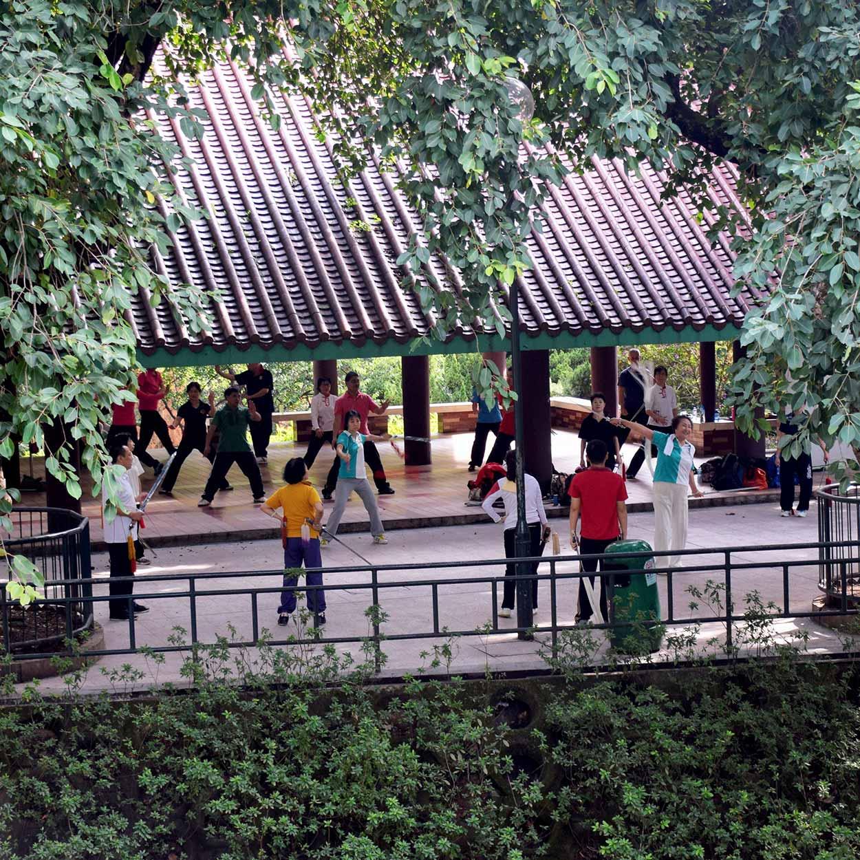 Sword play, Kowloon Park, Hong Kong, China