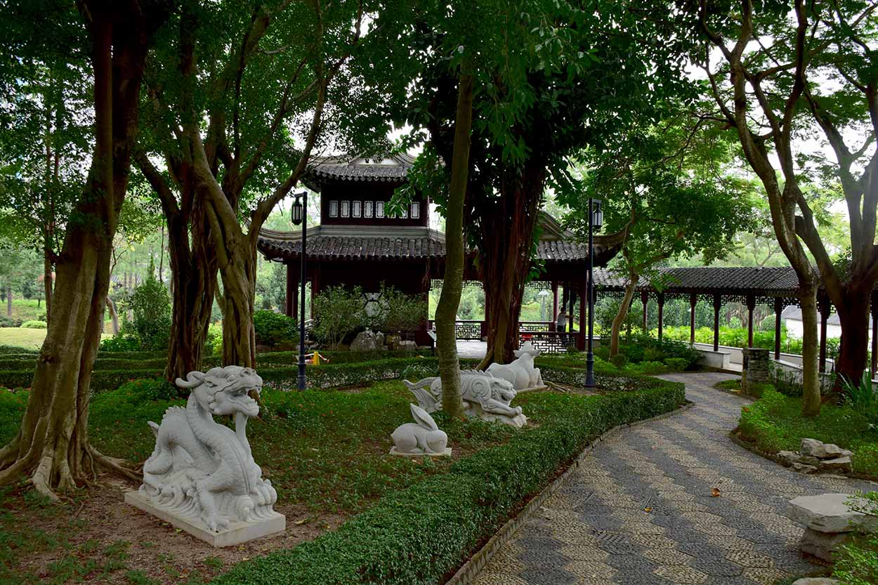The Garden Of Chinese Zodiac and the Mountain View Pavilion, Kowloon Walled City Park, Hong Kong, China