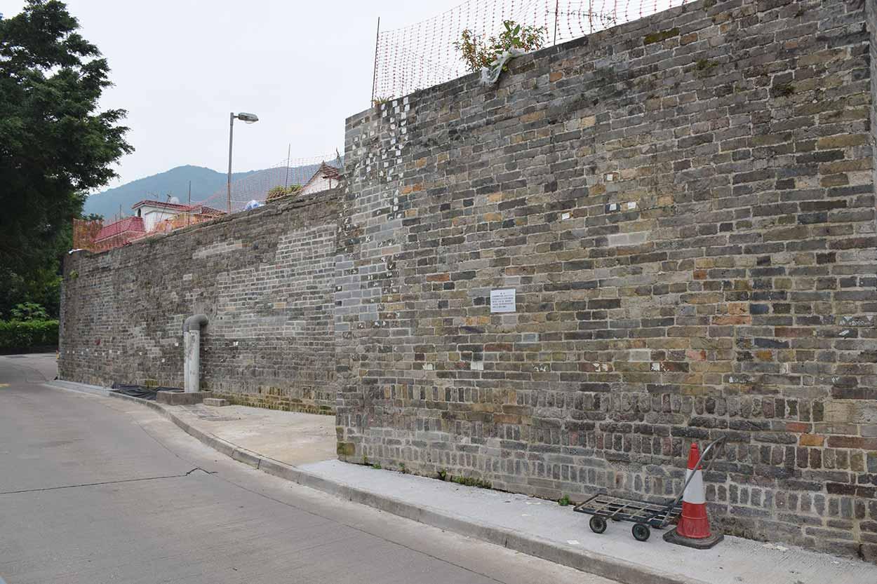 Northern wall of Lo Wai walled village, Lung Yeuk Tau Heritage Trail, Hong Kong, China