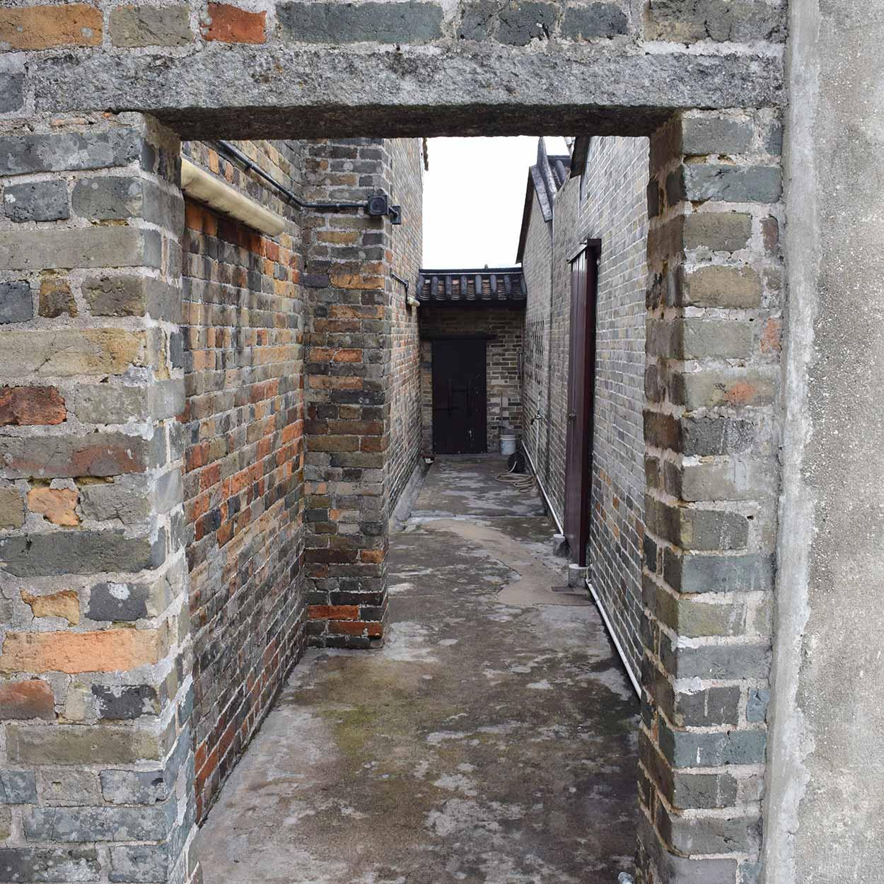 Brickwork of the Tung Chung Ling Ancestral Hall, Lung Yeuk Tau Heritage Trail, Hong Kong, China