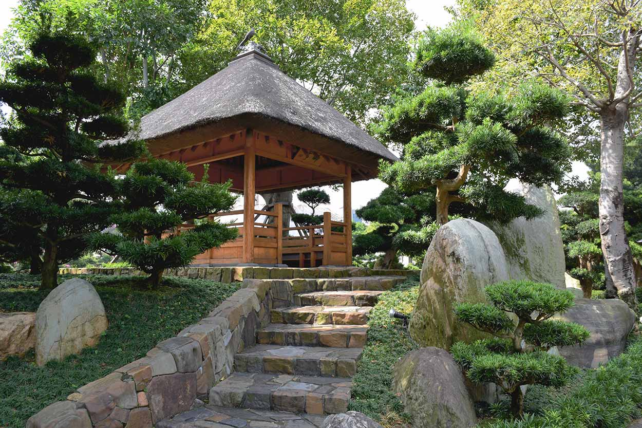 The Thatched Pavilion on top of Turtle Back Mound, Nan Lian Garden, Hong Kong, China