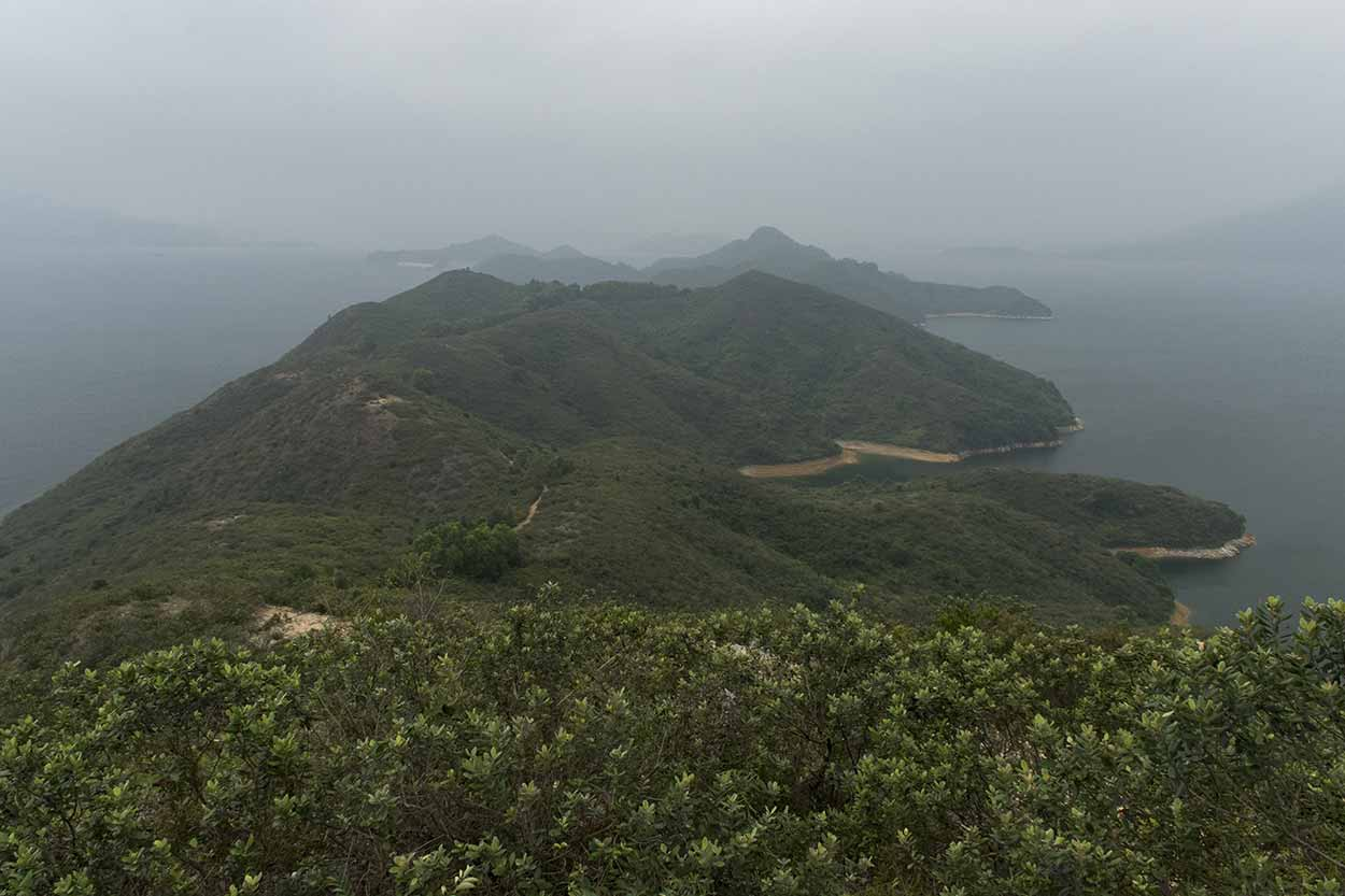 Plover Cove Reservoir to the right and Tolo Channel to the left, Plover Cove Reservoir Country Trail, Hong Kong, China