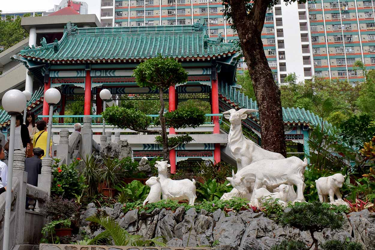 The stone goats in the Good Wish Garden, Sik Sik Yuen Wong Tai Sin Temple, Hong Kong, China