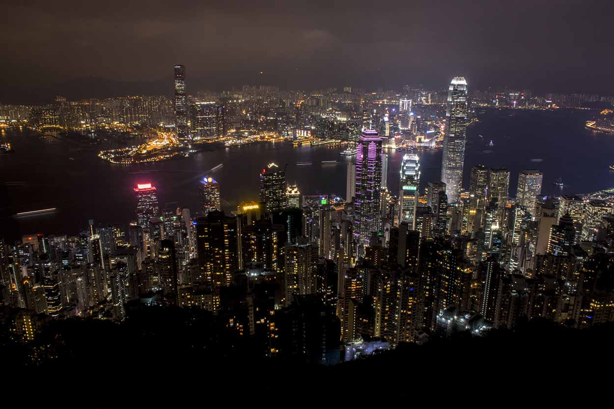 Big city night lights from Lugard Road Lookout, The Peak, Hong Kong, China