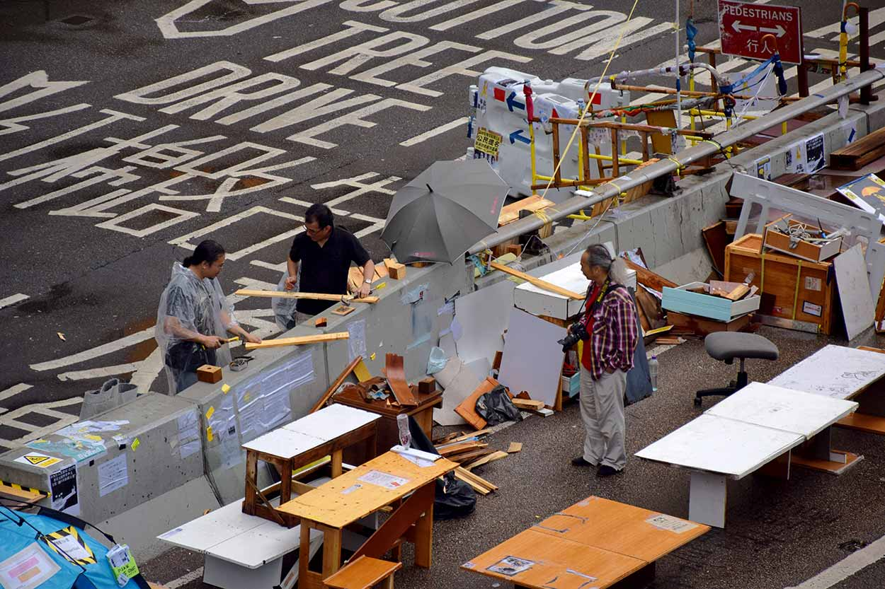 An Umbrella Revolution woodwork shop on Connaught Road, Admiralty, Hong Kong, China
