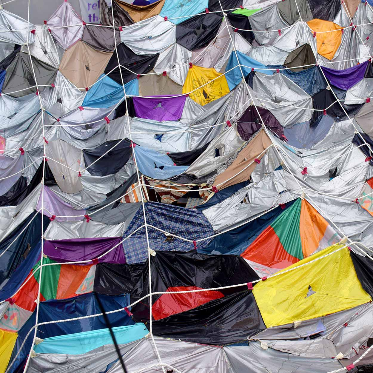 The remnants of umbrellas hanging over Connaught Road during the umbrella revolution, Admiralty, Hong Kong, China