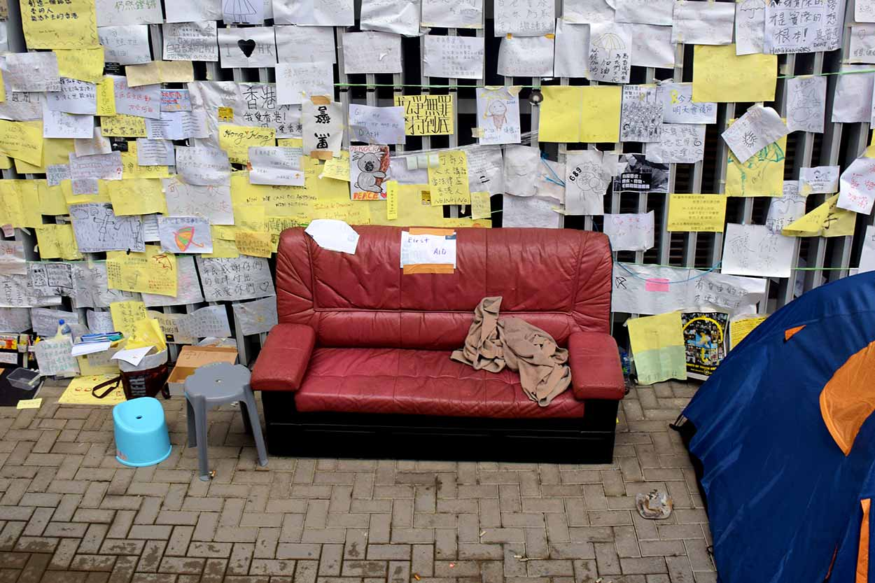 An Umbrella Revolution first aid couch, Admiralty, Hong Kong, China