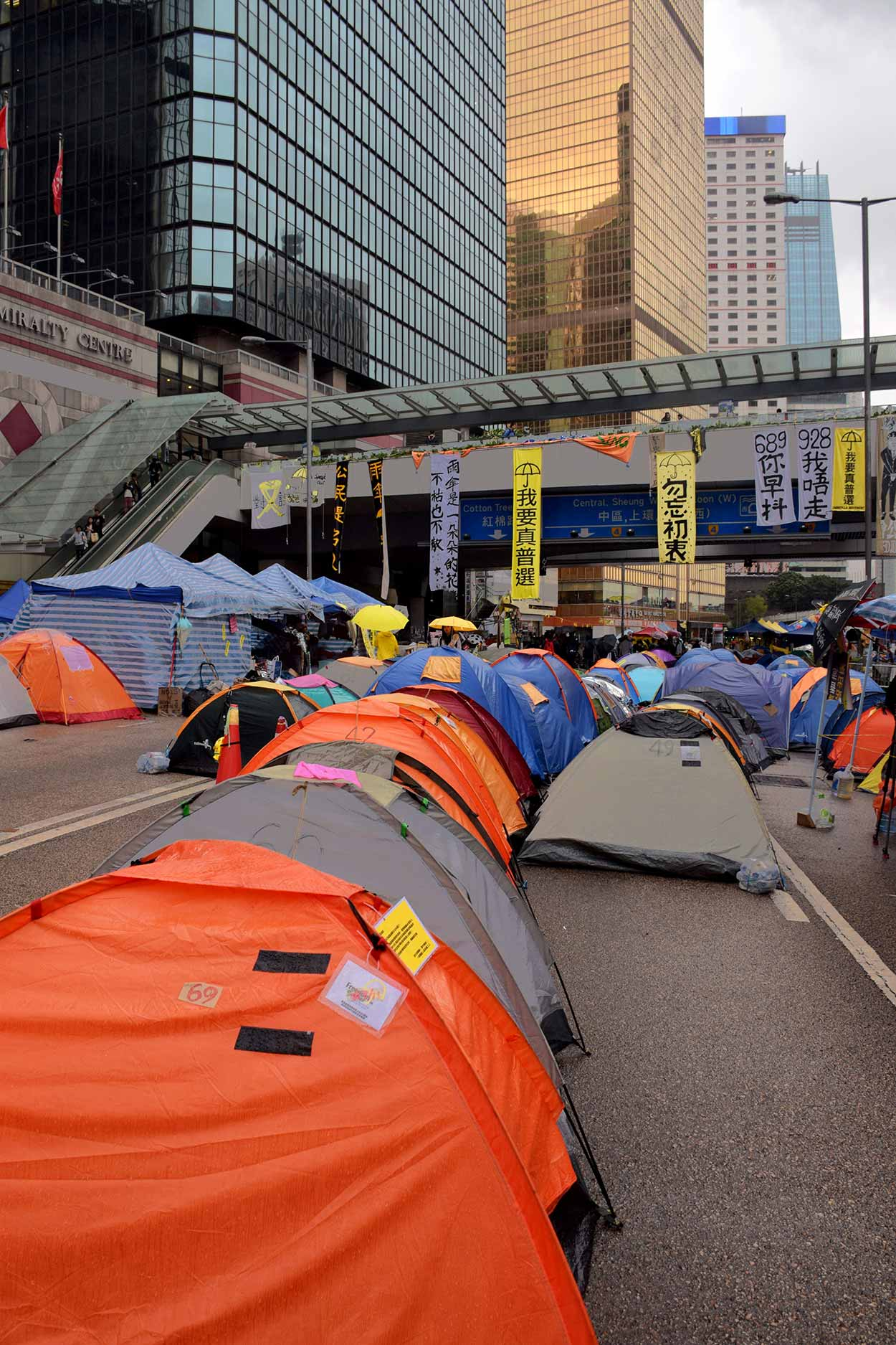 Umbrella Revolution tents pitched on Connaught Road, Admiralty, Hong Kong, China