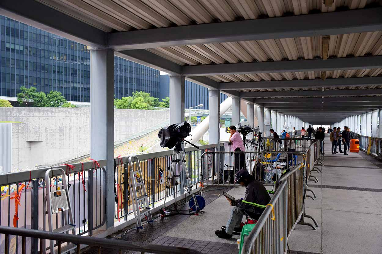 24hr media coverage of the Umbrella Revolution, Admiralty, Hong Kong, China