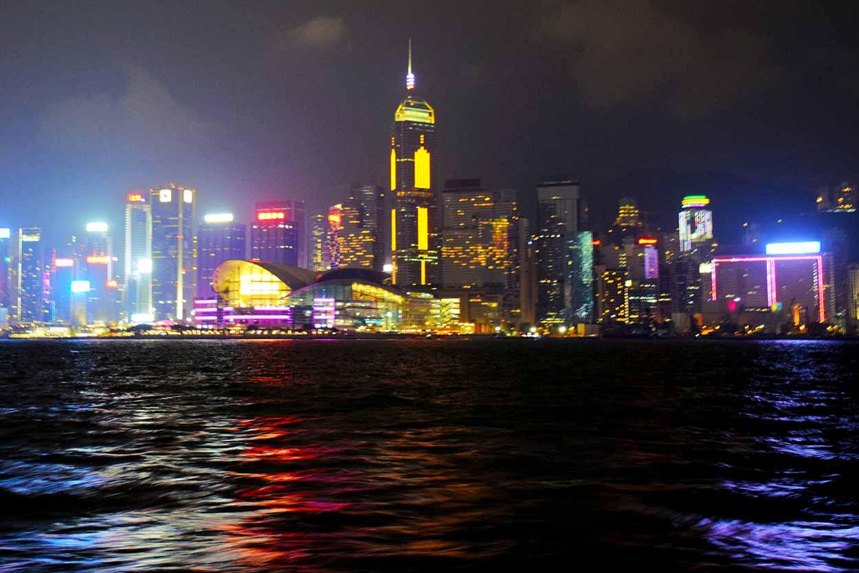 The Hong Kong Island lights from the Star Ferry, Hong Kong, China