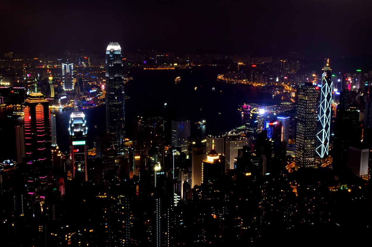 Bright city lights from the Lugard Road Lookout, The Peak, Hong Kong, China
