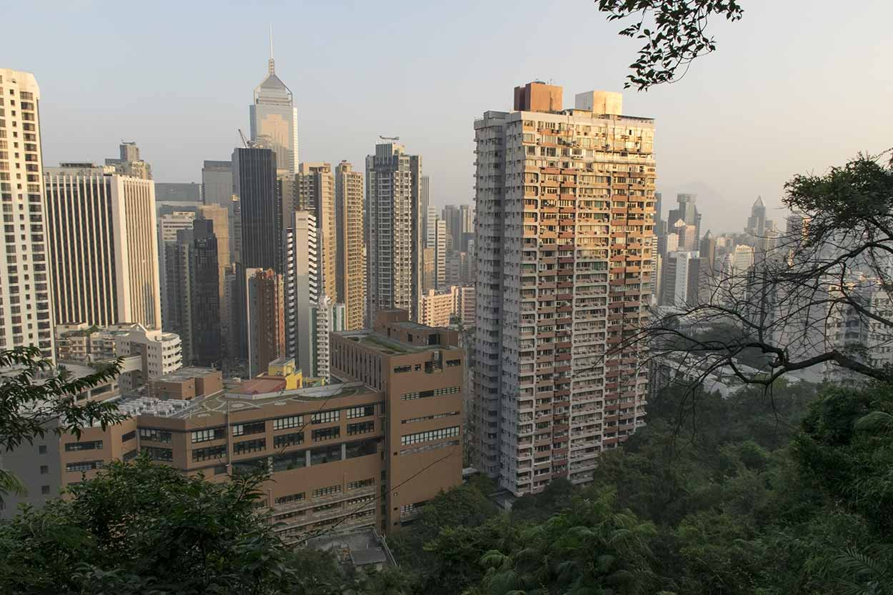 Views over Wan Chai from Bowen Road Fitness Trail, Hong Kong, China