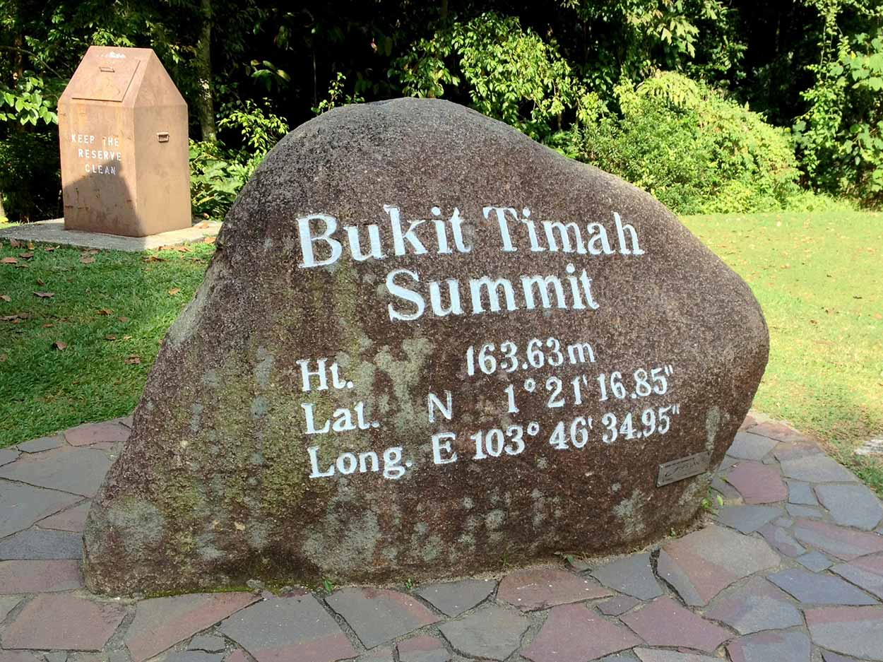 A rock indicating the summit of Singapore, Bukit Timah, Singapore