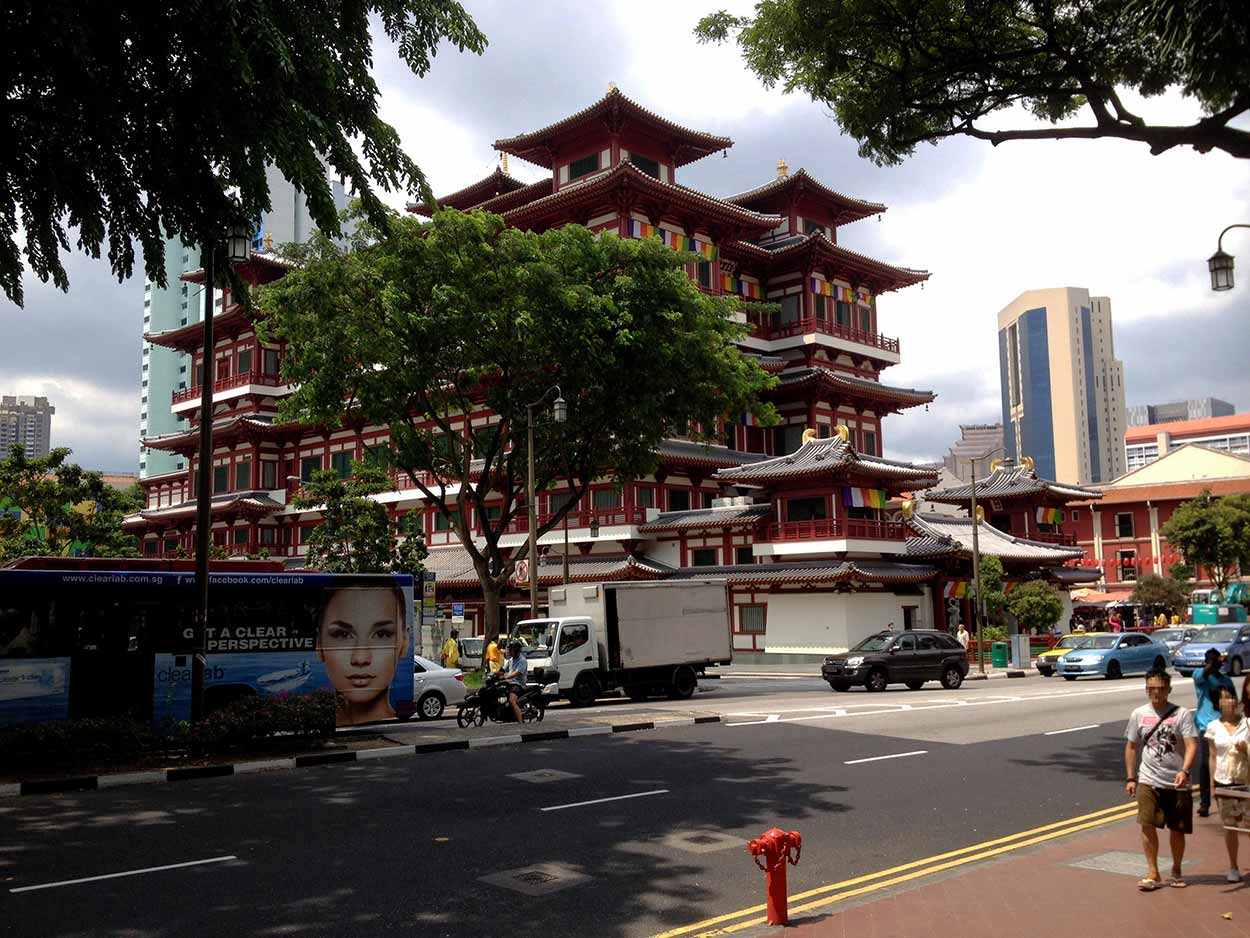 View of the Buddha Tooth Relic Temple and Museum from the Maxwell Food Centre, Chinatown, Singapore