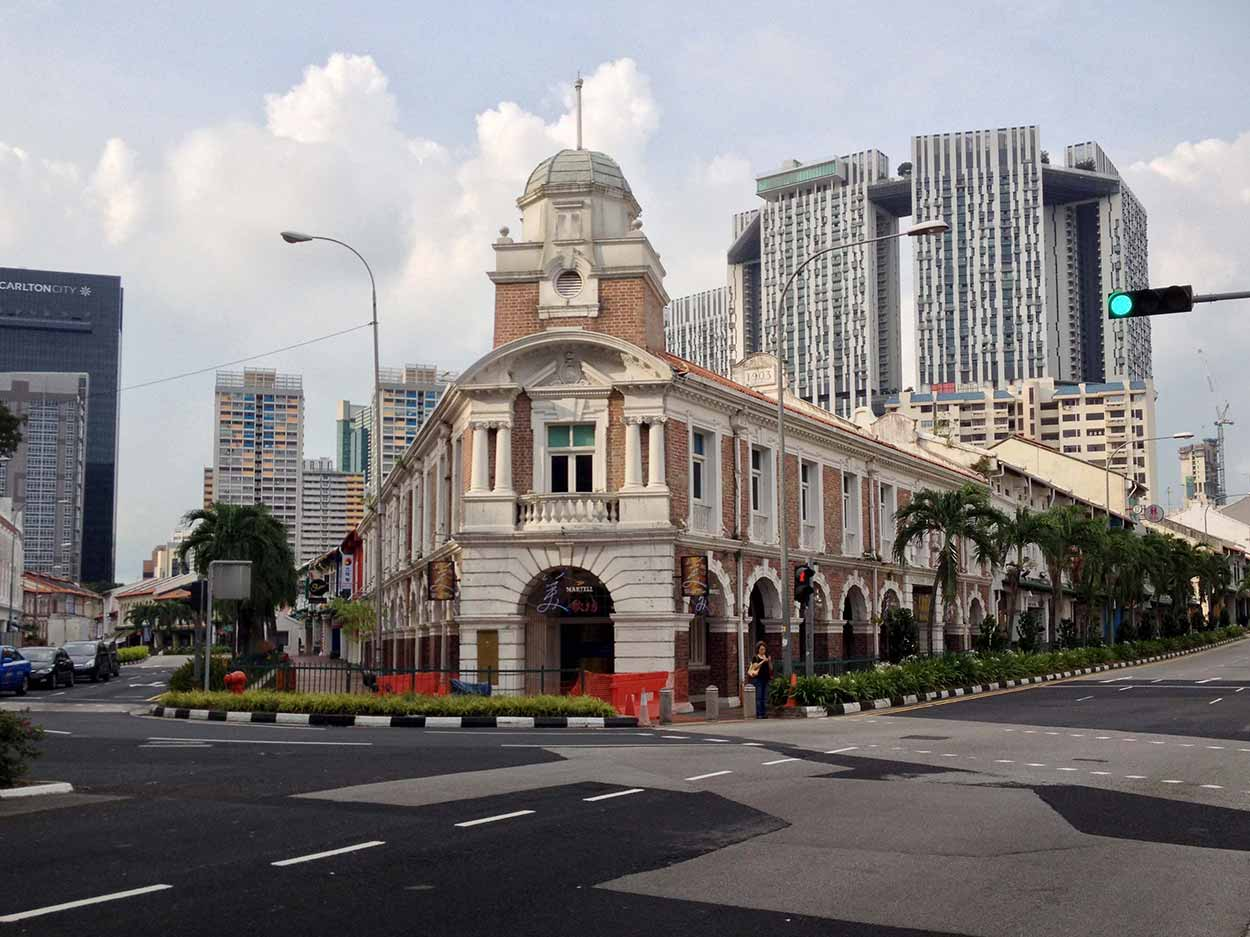 The Jinrikisha Station on the corner of Tanjong Pagar Road and Neil Road, Chinatown, Singapore