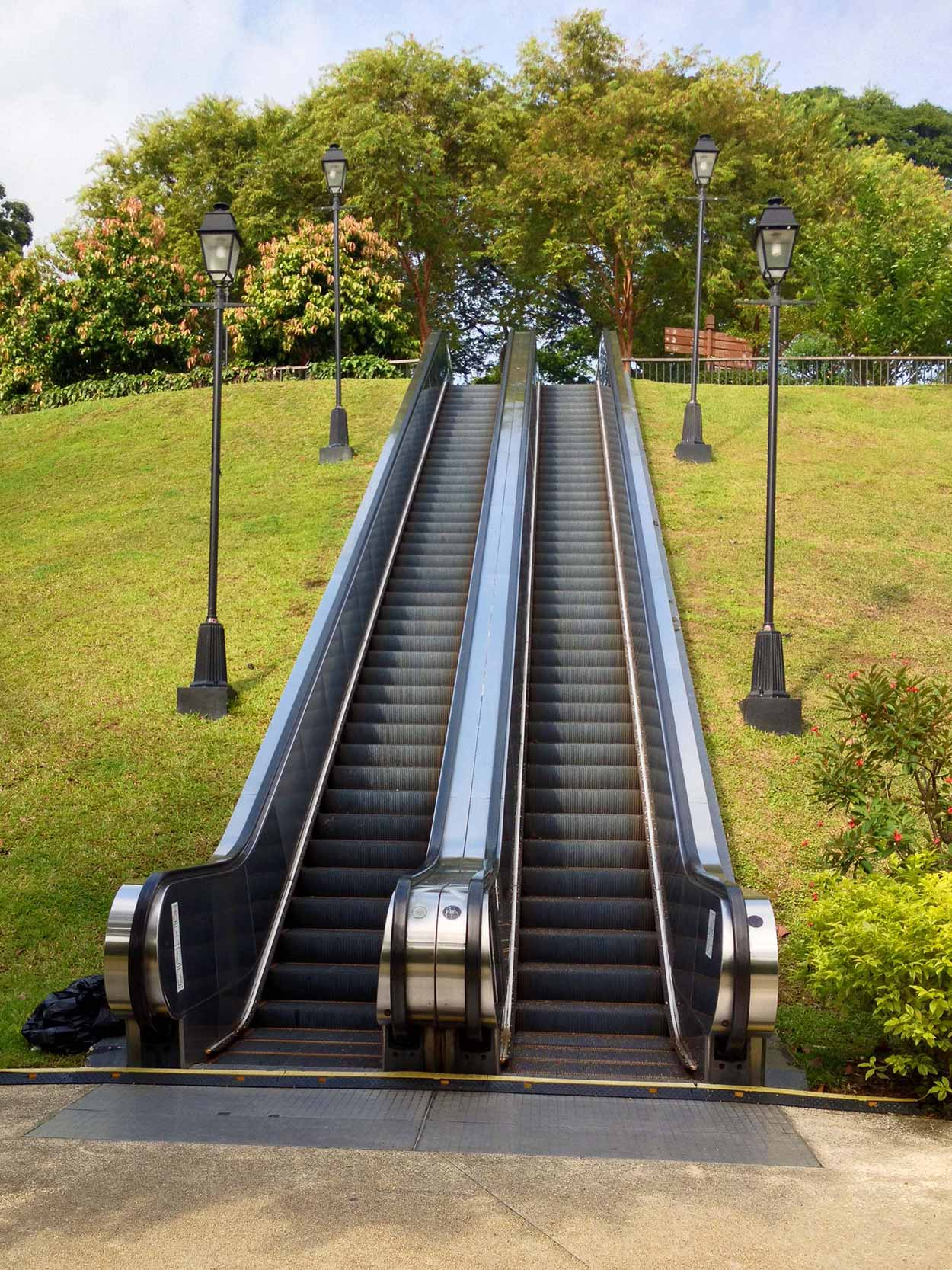 An outside escalator behind the National Museum of Singapore, Colonial District, Singapore