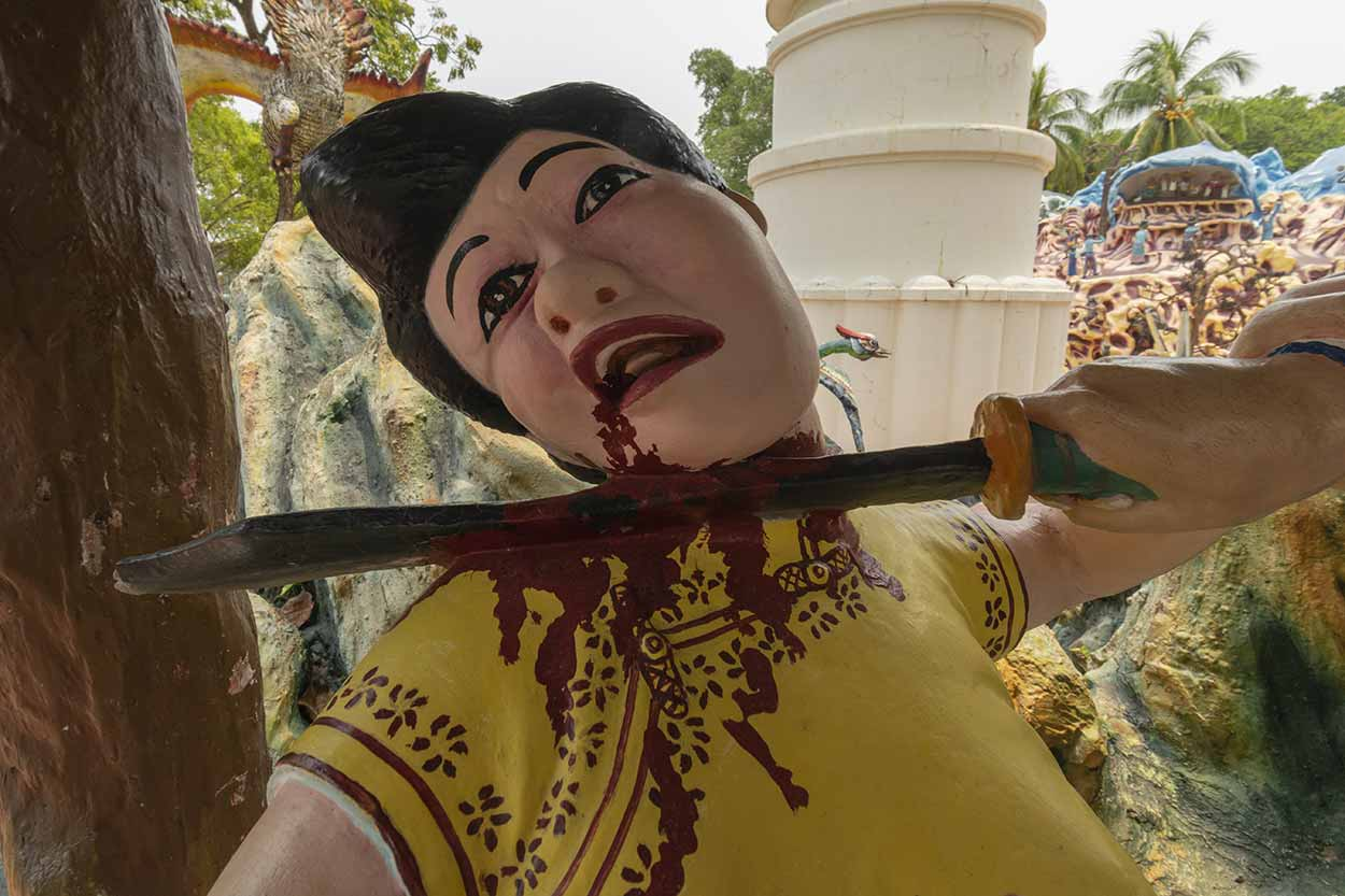 Gruesome artwork, Haw Par Villa, Singapore