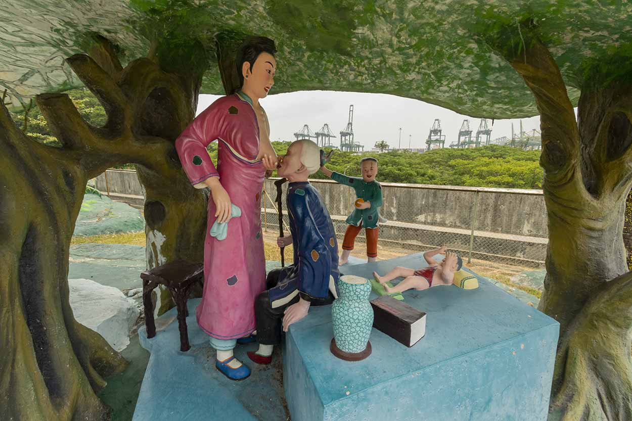 A very different sculpture, Haw Par Villa, Singapore