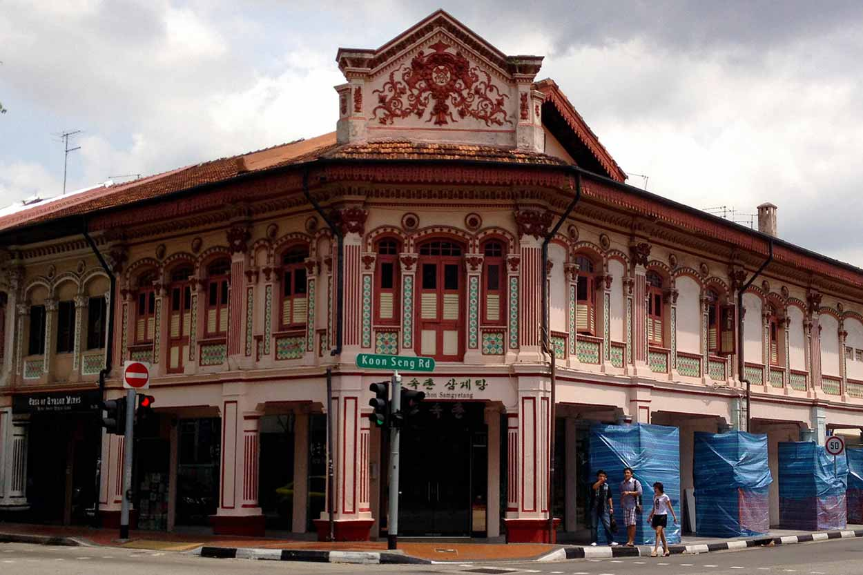 Brilliant example of shophouse architecture at the corner of Joo Chiat Road and Koon Seng Road, Singapore