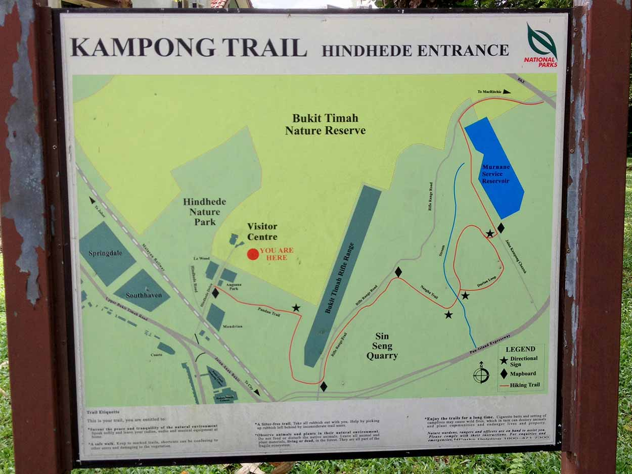 The map box at the start of the Kampong Trail at the Hindhede Drive entrance, Bukit Timah Nature Reserve, Singapore