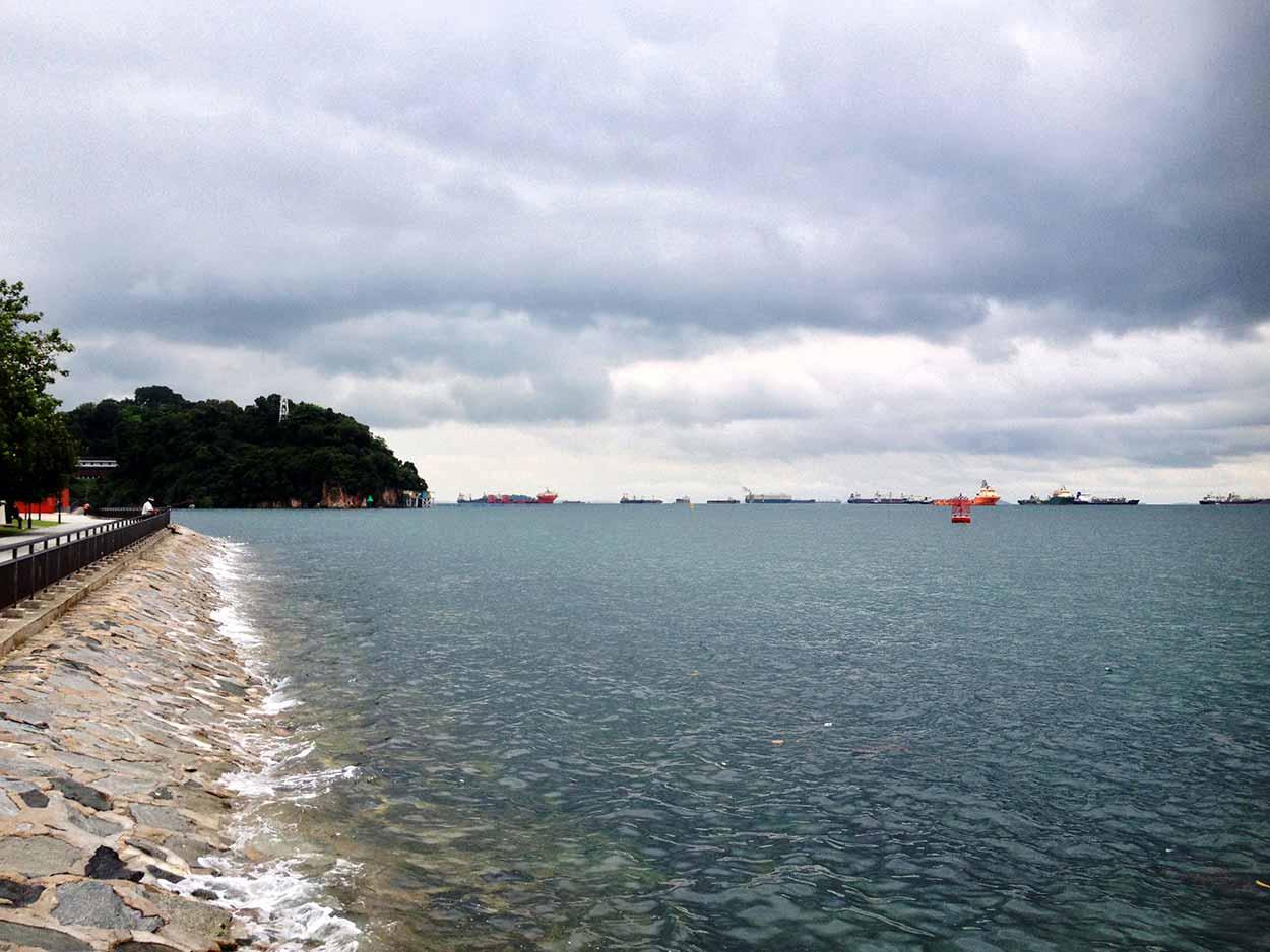 Views of Singapore Strait and a flotilla of cargo ships, Labrador Nature Reserve, Singapore