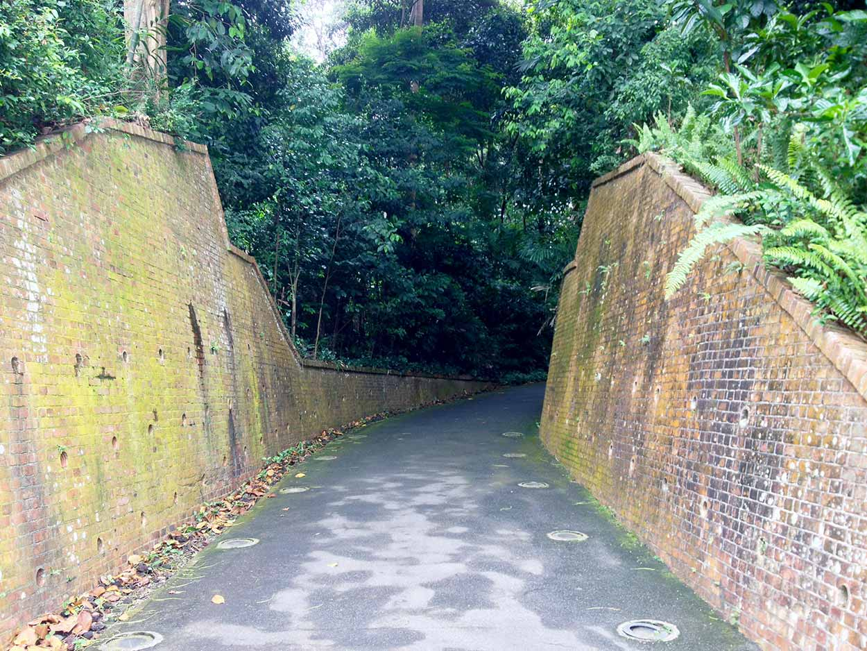 Old Fort Pasir Panjang Entrance at the beginning of the trail into the jungle, Labrador Nature Reserve, Singapore