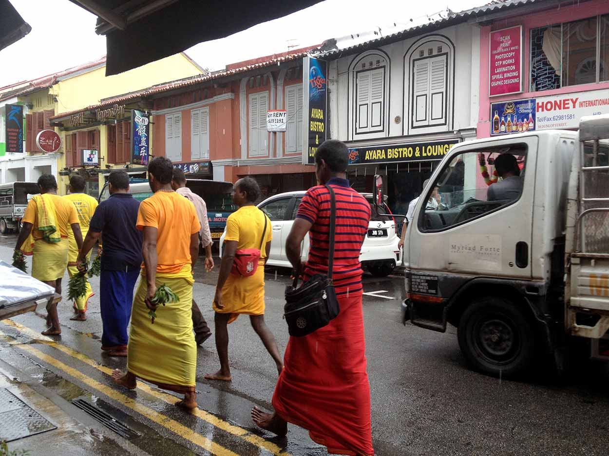 Deepavali firewalkers heading to Sri Mariamman Temple in Chinatown from Dunlop Street, Little India, Singapore