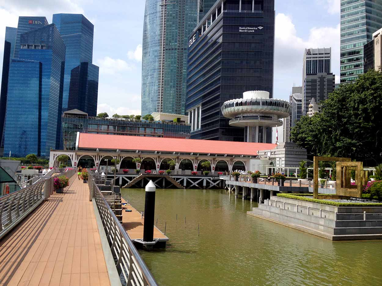 A boardwalk on the western side of Marina Bay, Singapore