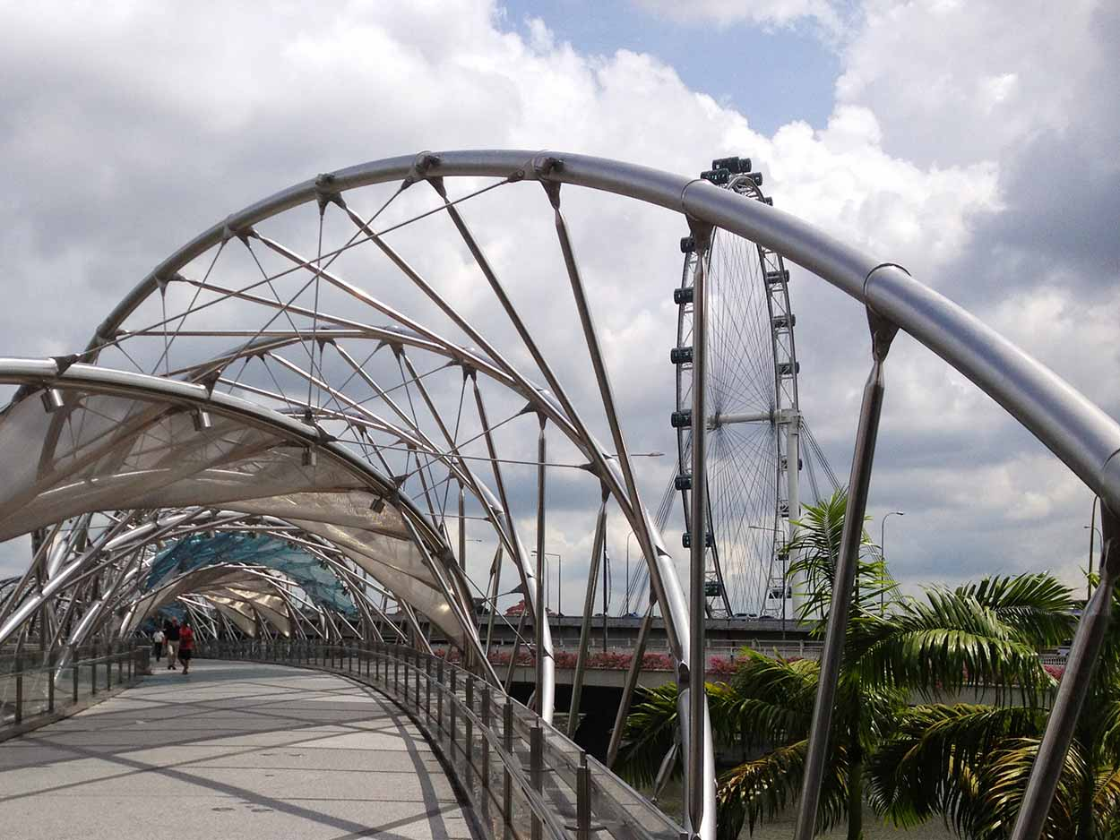 Crossing the Singapore River at the Helix Pedestrian Bridge, Marina Bay, Singapore