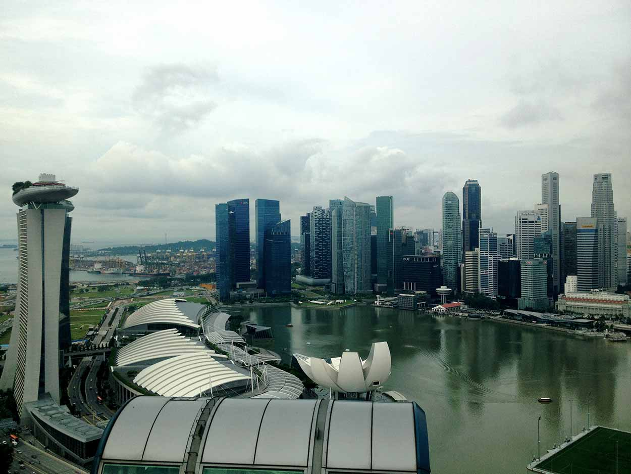 The view over Marina Bay from inside my own personal capsule of the Singapore Flyer, Singapore