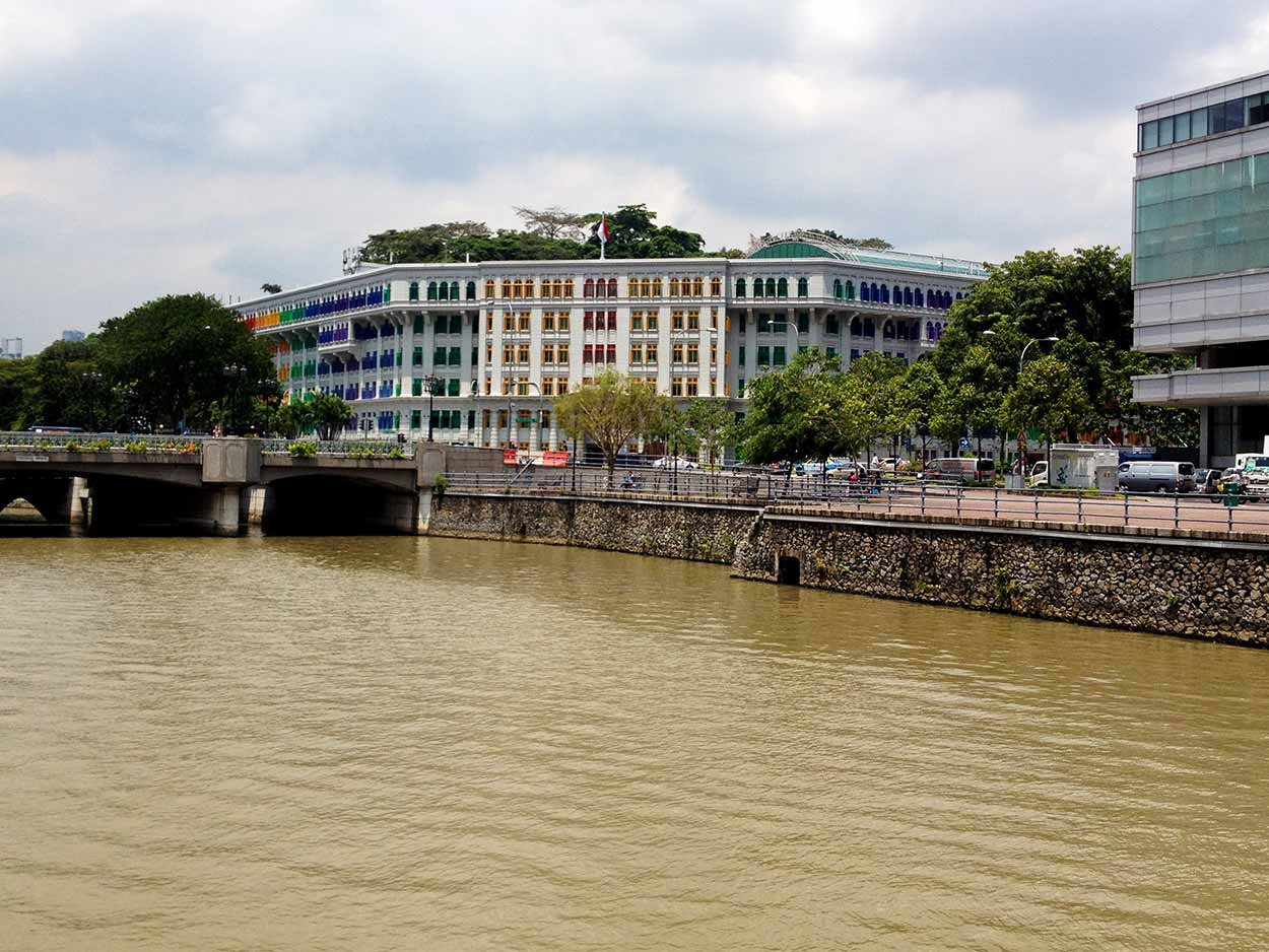 The Old Hill Street Police Station overlooking Coleman Bridge and the Singapore River, Singapore