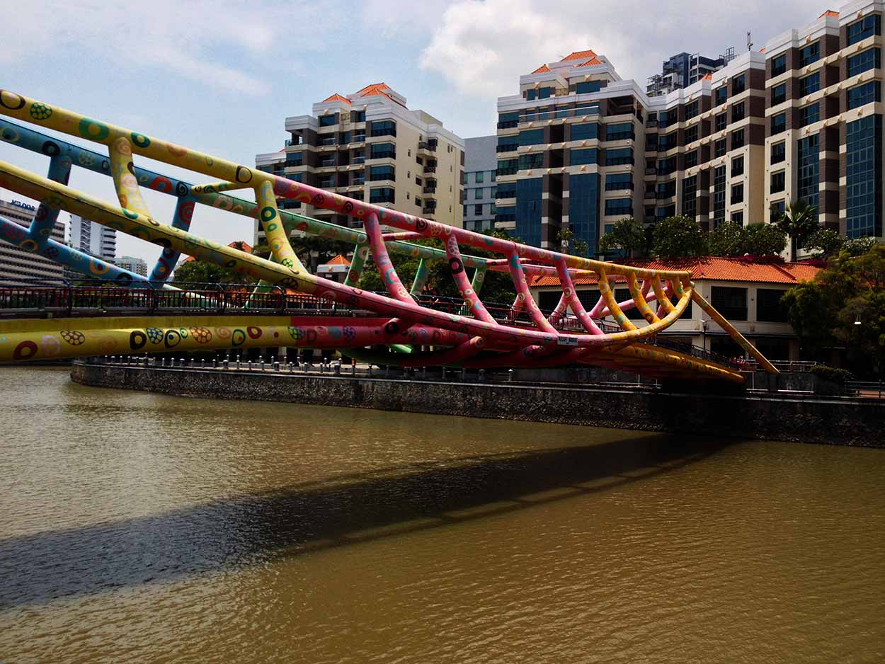 The extremely colourful Alkaff Bridge, Singapore River, Singapore