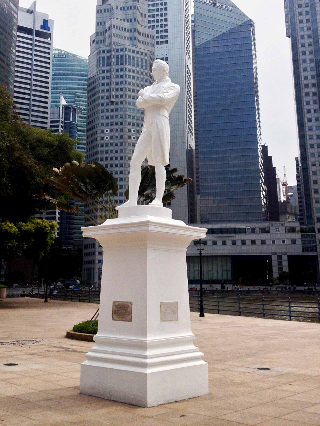 Raffles Landing Site is marked by polymarble statue of a thoughtful Sir Stamford Raffles, Singapore River, Singapore