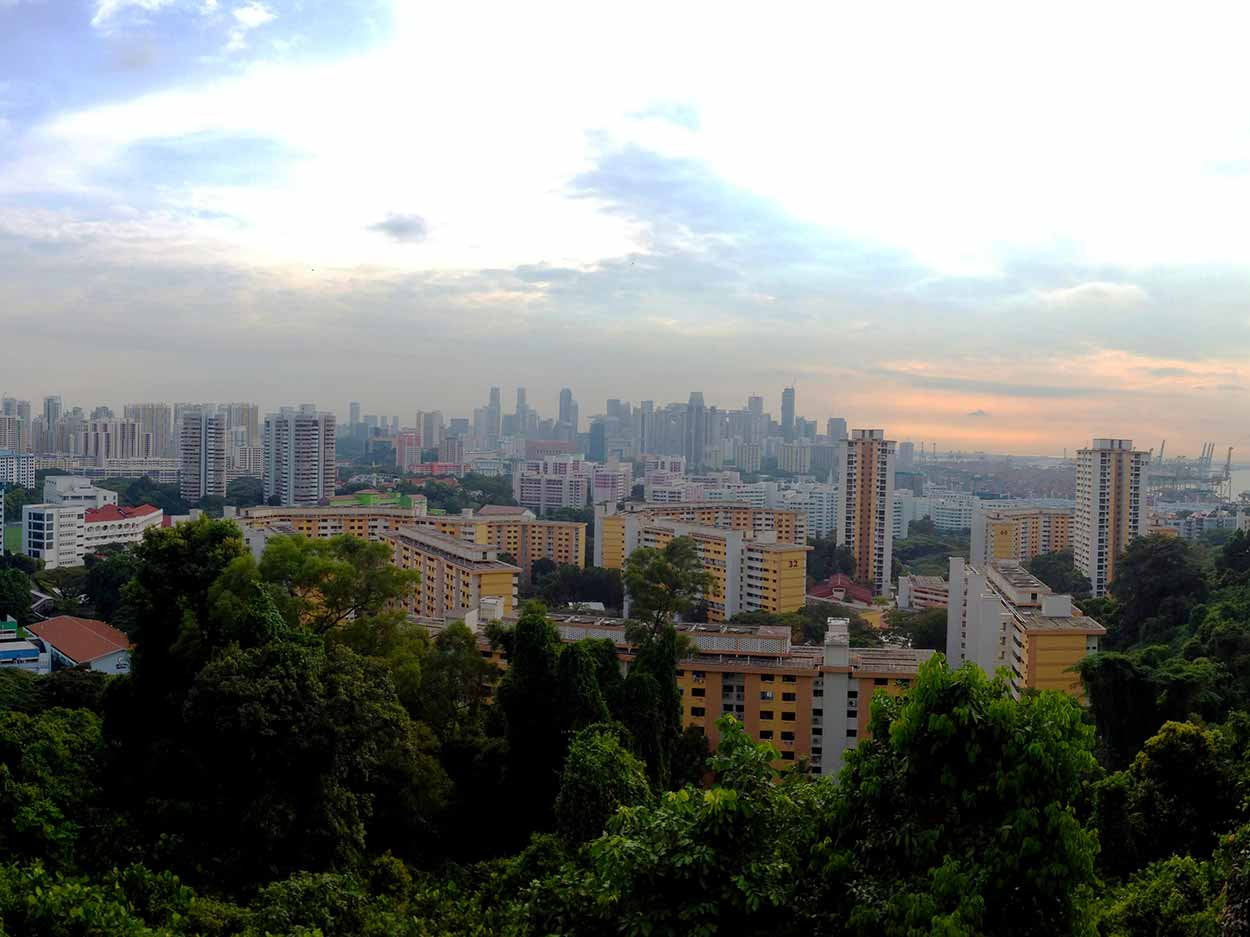 The view from Mount Faber Park towards the sprawling Singapore skyline, Southern Ridges Walk, Singapore